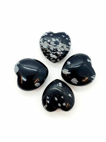 Mini coeur en Obsidienne flocon de neige