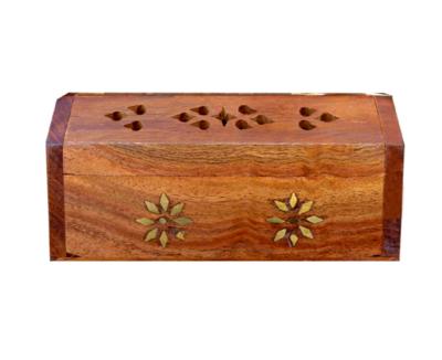 Porte encens en bois coffre fleurs 13cm