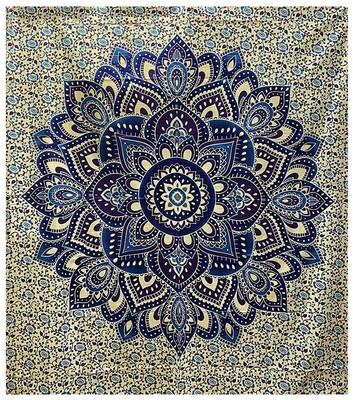 Tenture Lotus violet et bleu 220 x 240 cm