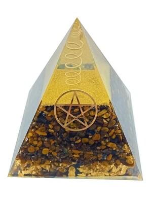 Pyramide Orgonite Oeil de Tigre Pentacle