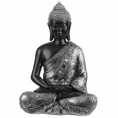Figurine Bouddha Thaïlandais Noir & Argenté avec Porte-bougie