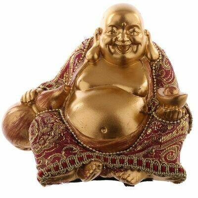 Bouddha chinois assis main sur gourde - effet rouge doré