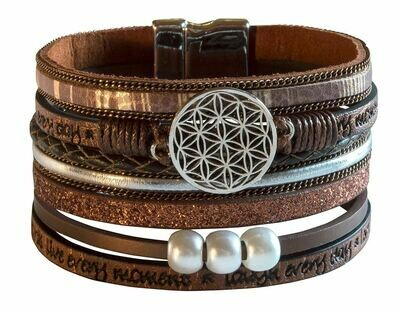 Bracelet Fleur de Vie - Brun