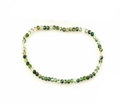 Bracelet Agate mousse facettées, 3mm