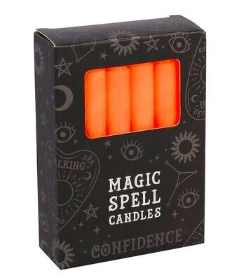Lot de 12 bougies rituels - Orange Confiance en Soi