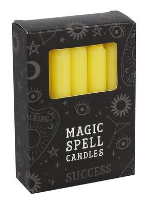 Lot de 12 bougies rituels - Jaune Succès