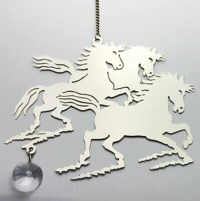 Décoration de fenêtre - trio de chevaux de feu