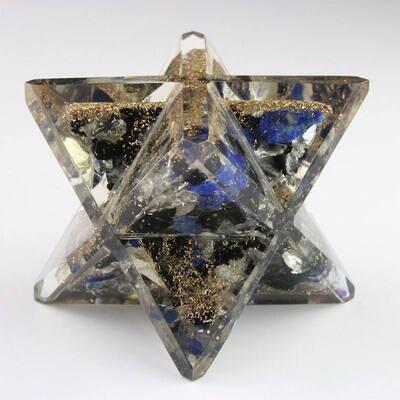 Merkaba orgone cristal de roche/lapis lazuli/tourmaline noire  6,2 cm
