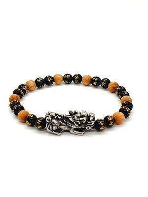 Bracelet PI XIU Obsidienne Om et perles de cèdre, 6 mm