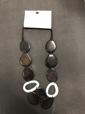 Tagua Necklace black and lime green