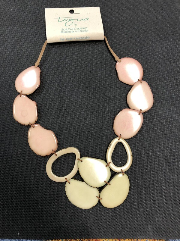 Tagua necklace adjustable pink, tan and hint of yellow/green