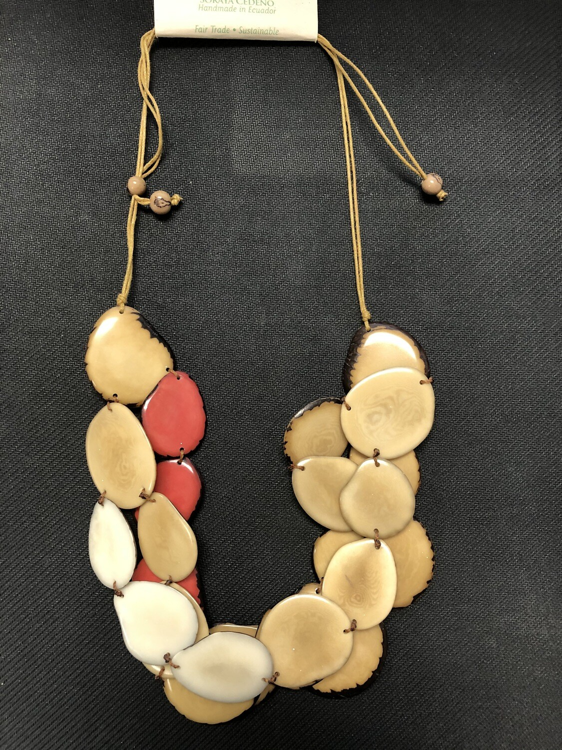 Tagua hecklace adjustable, red, tan and ivory