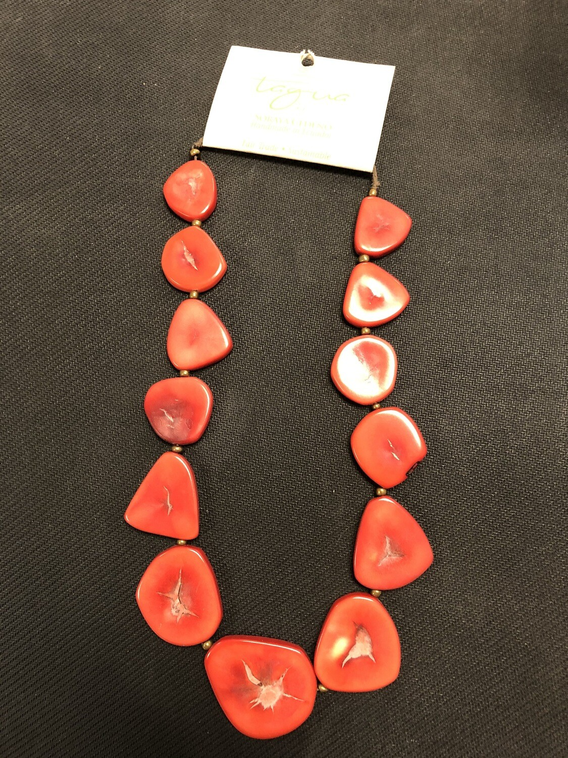 Tagua Necklace Red