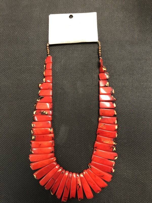 Tagua Necklace Red dominate, black and yellow specs