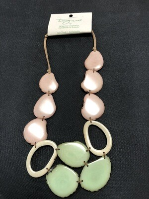 Tagua necklace light pink, light green and ivory