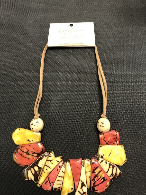 Tagua Necklace Yellow (gold), red, black and invory