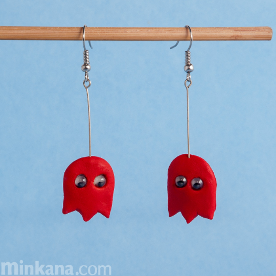 "Pac-Man's red Ghosts ""Blinky"" Earrings"