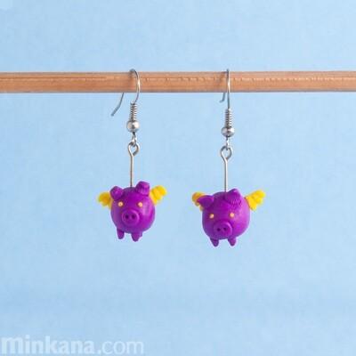 Purple Flying Pigs Earrings