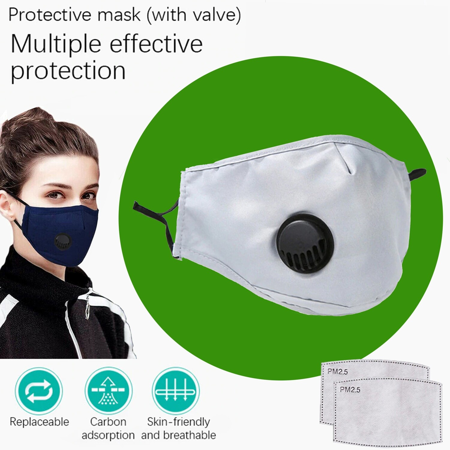 Gray Face Mask with breath valve plus two replaceable PM2.5 Filters. Washable and reusable.