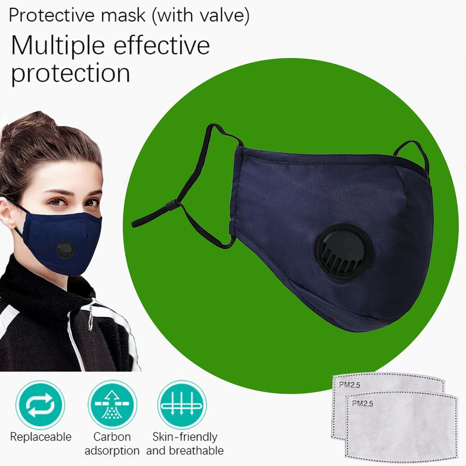 Navy Face Mask with breath valve plus two replaceable PM2.5 Filters. Washable and reusable.
