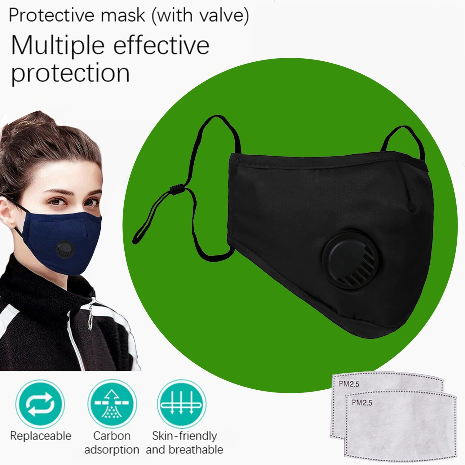 Black Face Mask with breath valve plus two replaceable PM2.5 Filters. Washable and reusable.