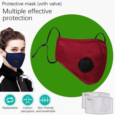 Red Face Mask with breath valve plus two replaceable PM2.5 Filters. Washable and reusable.