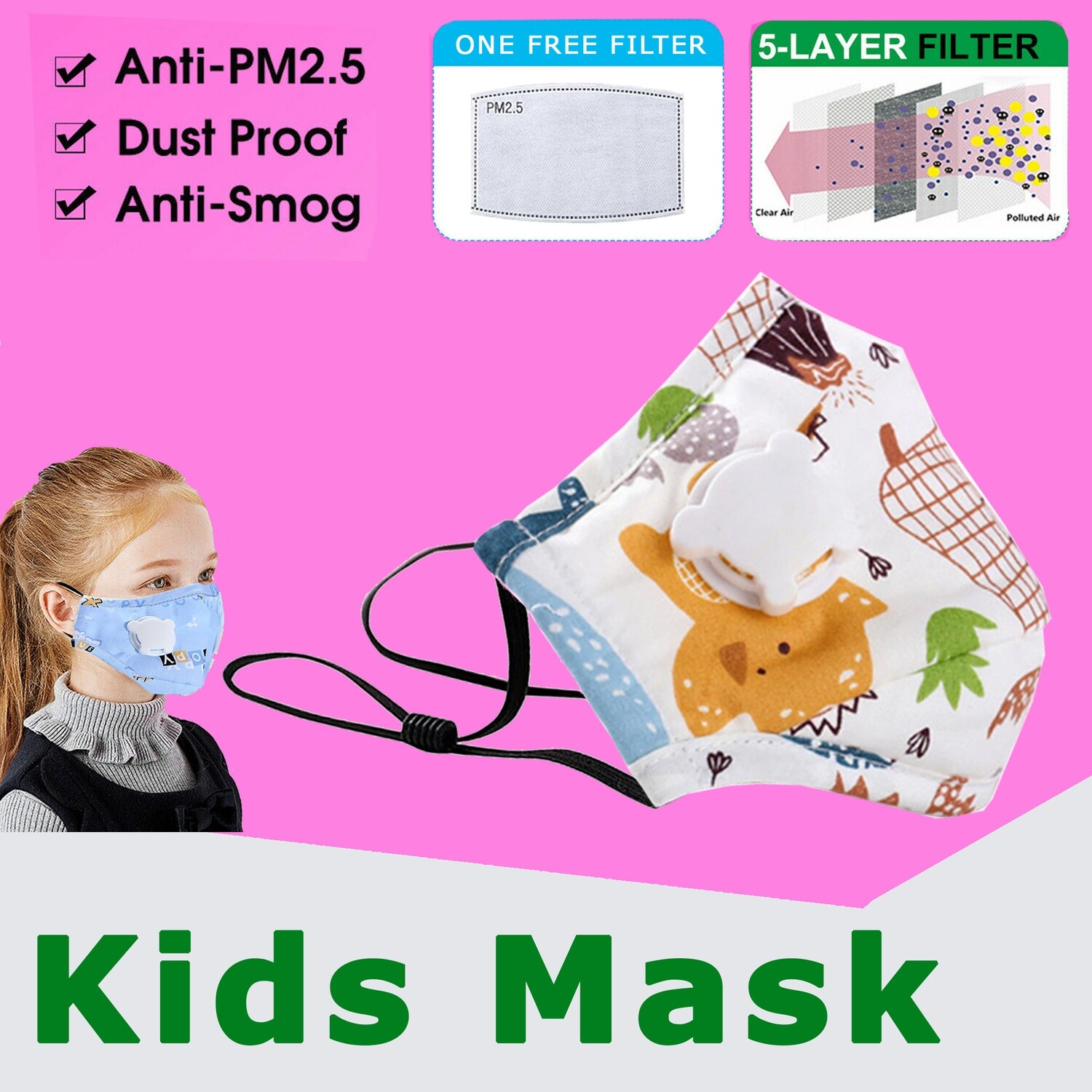 Baby/kids protective Face Mask with breath valve and 5 Layers Replaceable Anti Haze Filter PM2.5. Washable, reusable anti-dust.