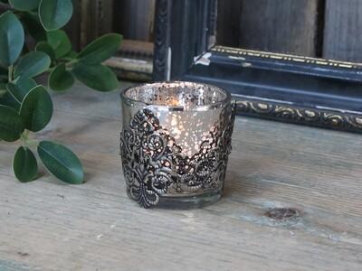 Teelichthalter mit silber Dekor