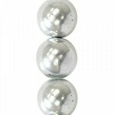 4mm Czech Round Druk Beads - Matte Silver
