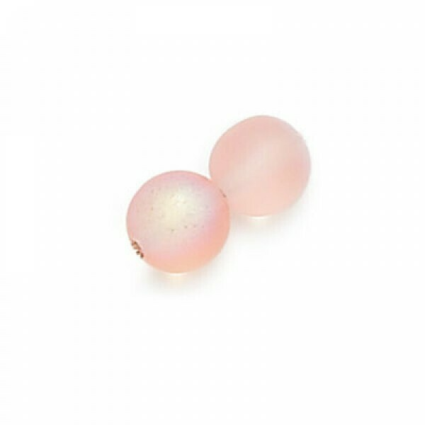 4mm Czech Round Druk Beads - Frosted Pink AB