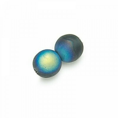 3mm Czech Round Druk Beads - Frosted Montana AB