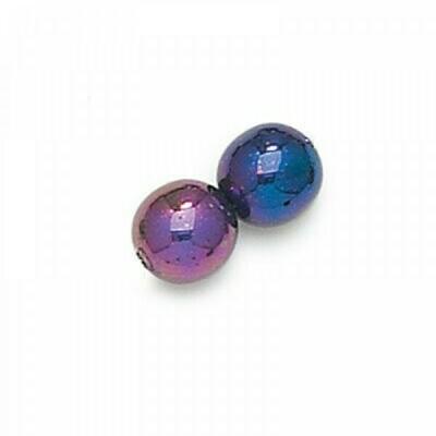 3mm Czech Round Druk Beads - Purple Iris
