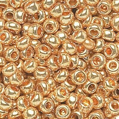 Shiny Gold Size 8 Czech Seed Beads - Hank