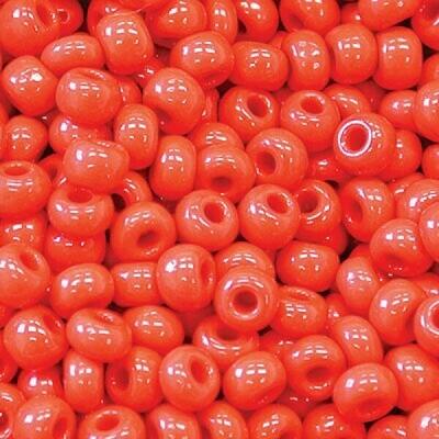 Cherry Red Opaque Size 8 Czech Seed Beads - Hank