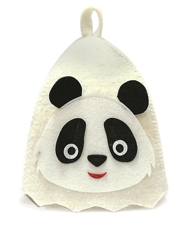 Dětská čepice do sauny panda, 50% vlna