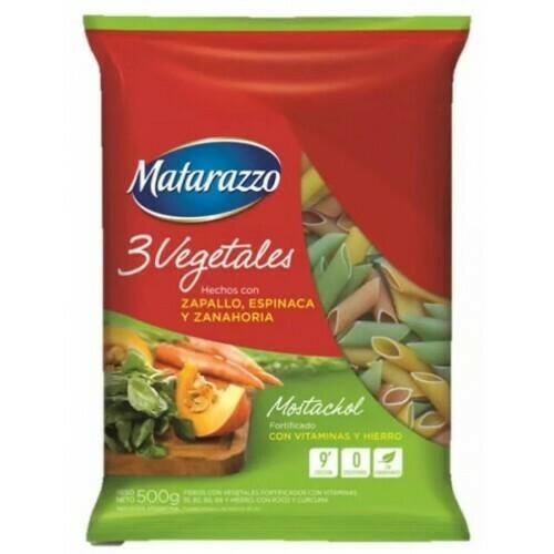 Fideos Matarazzo 3 Vegetales Mostachol 500Grs