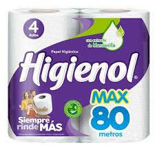 Papel Higiénico Higienol Max 80m 4u