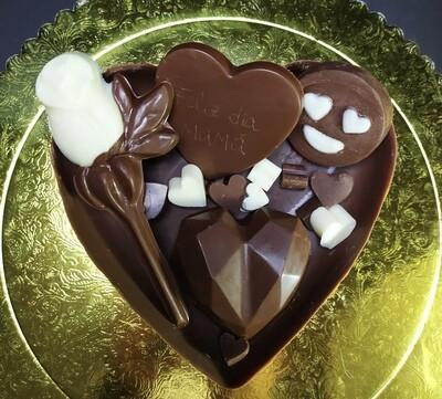 Medio Corazón de Chocolate con Mega Bombones y Rosa - Sin Azúcar y Sin Gluten.