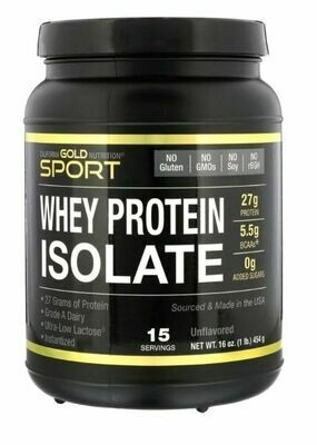 California Gold Nutrition Whey Protein Isolate unflavored 15 Servings