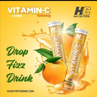 HC Nutrition Vitamin C 1000 Mg + ZINC 50 Mg Effervescent 20 tablets