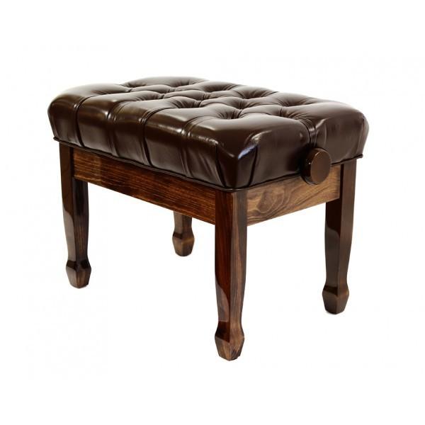 Cadenza - Real Leather Adjustable Piano Stool - Polished Walnut