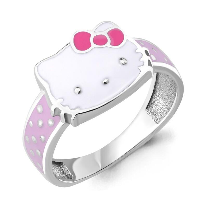 Кольцо 54657 серебро 925  Hello Kitty золочение