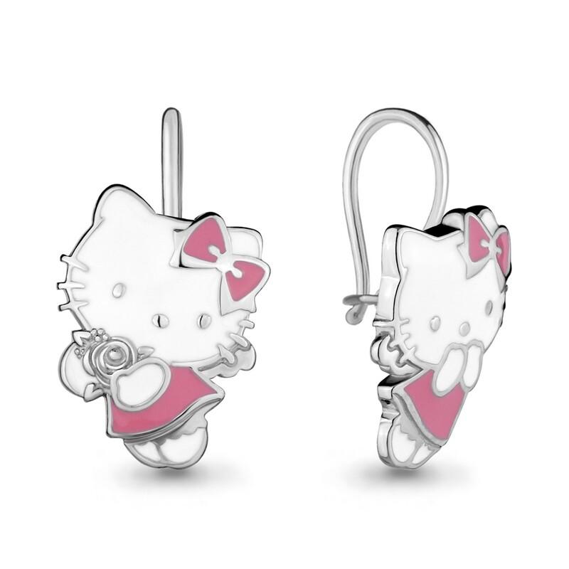 Серьги 33536  серебро 925 Hello Kitty