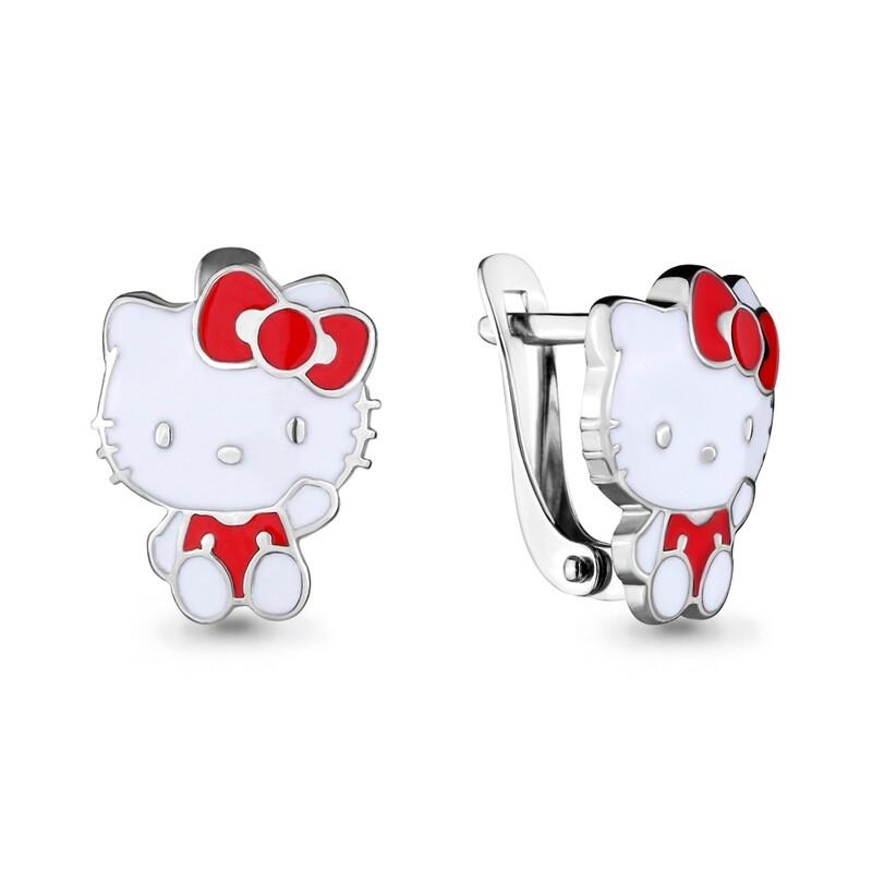 Серьги 33475 серебро 925 Hello Kitty