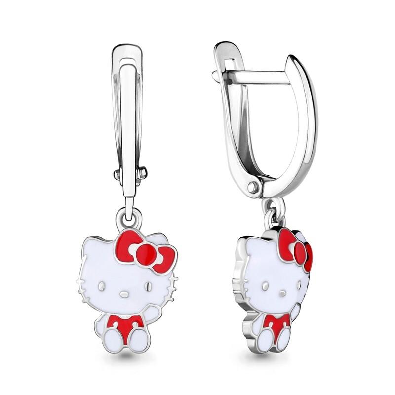 Серьги 33476 серебро 925 Hello Kitty