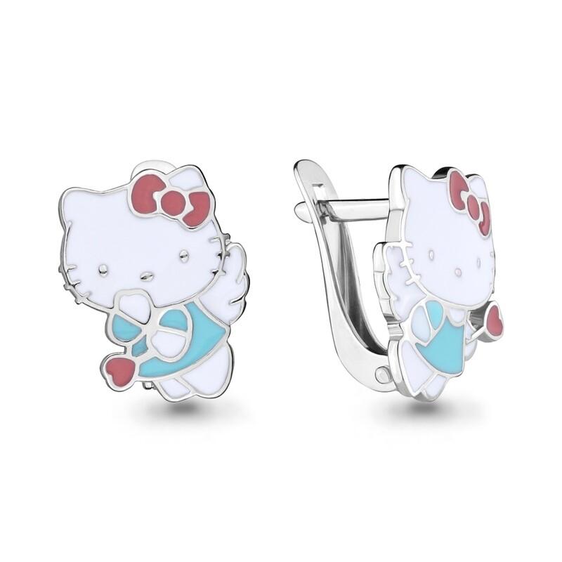 Серьги 33482 серебро 925 Hello Kitty