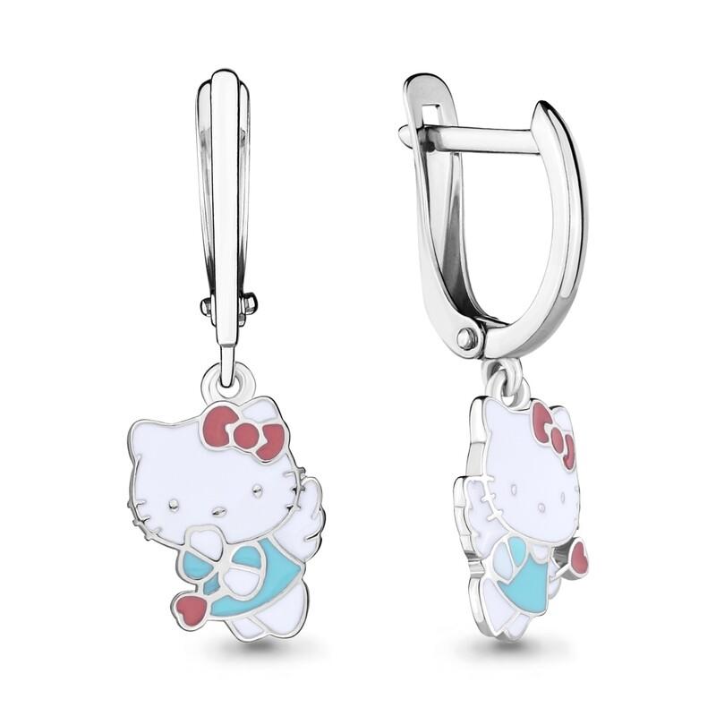Серьги 33481 серебро 925 Hello Kitty