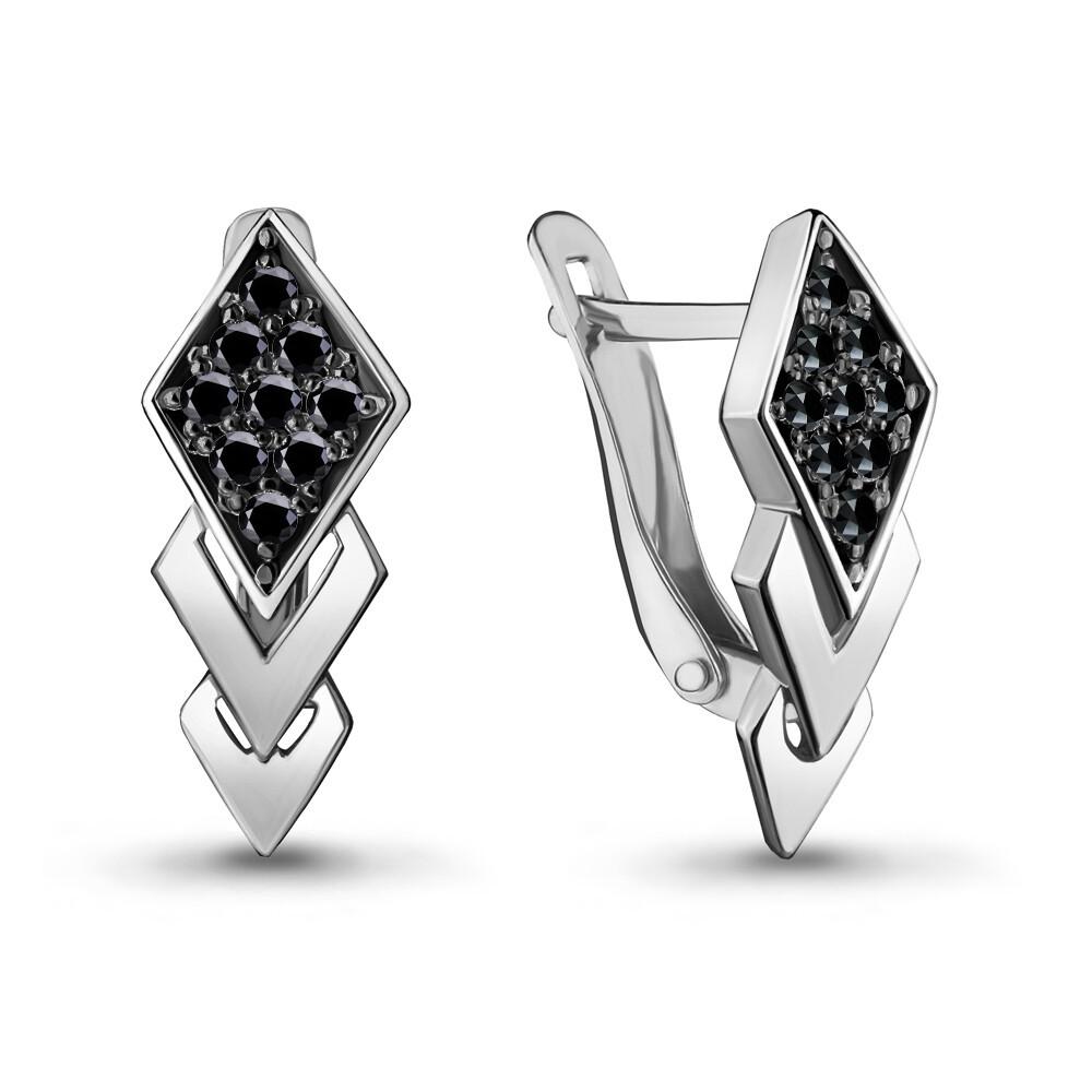 Серьги 46964Ч серебро 925