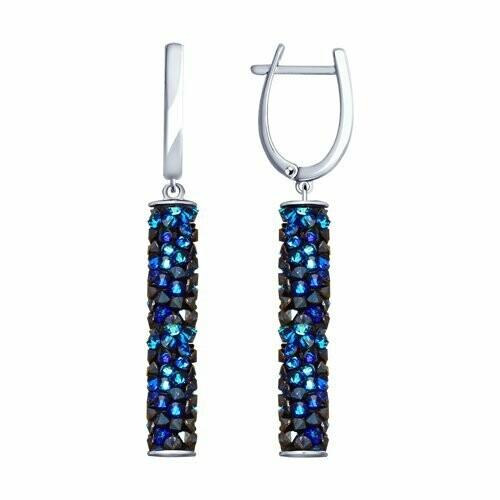 Серьги из серебра с синими кристаллами Swarovski 94023187