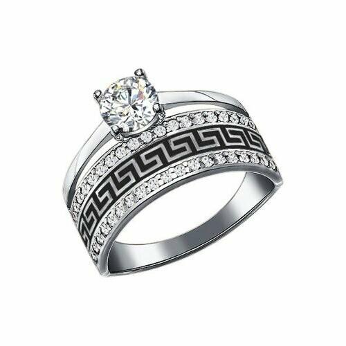 Кольцо 94011131 серебро 925/фианит/эмаль